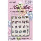 Flori cu pietre, nail art - sticker 3D negru