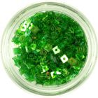Confetti transparent cu gaură - mici pătrate verzi