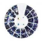 Decorațiuni nail art - strasuri rotunde – mix – albastre cu reflexii colorate