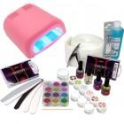 Kit unghii cu gel, lampă UV roz 36W - sistem în trei faze