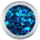 Confetti nail art - flori albastru turcoaz, hologramă