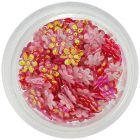 Decorațiuni roșii sidefii pentru unghii – flori din țesătură